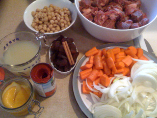 Mise en place for Morroccan lamb stew